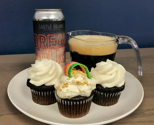 Dream Police beer can and beer infused cupcakes